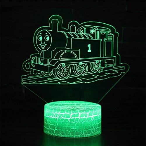 Thomas train lampe économie d'énergie 3D Night Light/LED, 7 lumières décoratives à changement de couleur - Crack Base, cadeau parfait pour les enfants