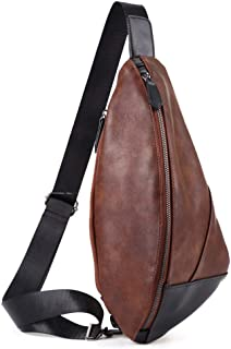 Mens Bag New Men Chest Bag PU Leather Sling Bag Crossbody Shoulder Backpack Chest Pack Travel Bags Causal Daypack Single Shoulder Messenger Bag for Outdoor Sports Hiking Cycling Travel High capacity