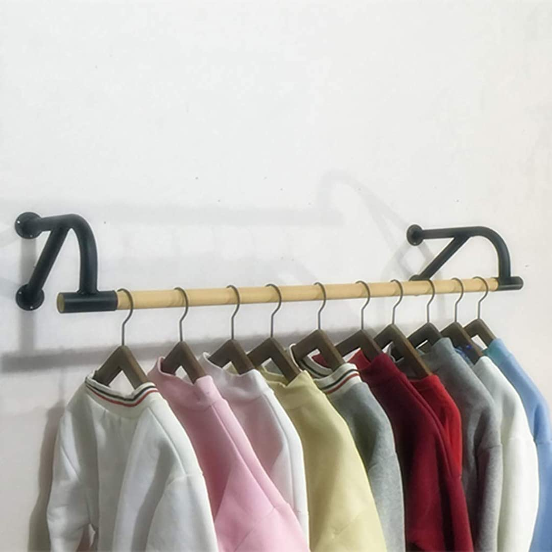にじみ出る看板十代ロッドをハンギング木製の服、産業服ロッド、衣服ラック商業衣類のディスプレイラック、鉄ベース-60センチメートル、80センチメートル、100センチメートル、120センチメートル (Size : 60cm)