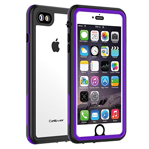 CellEver Compatible with iPhone 7/8 Waterproof Case Shockproof IP68 Certified SandProof Snowproof Full Body Protective Clear Transparent Cover Designed for iPhone 7 / iPhone 8 (4.7 Inch) KZ Purple