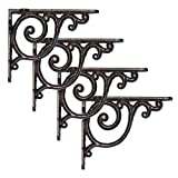 wood and cast iron shelf - NACH js-90-419 Cast Iron Victorian Scroll Shelf Mount Bracket, Pack of 4, 5.51x1.18x4.4 Inches, Black