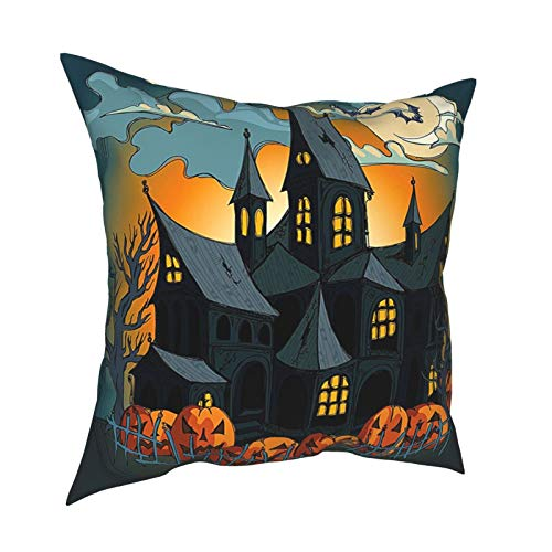 Halloween Decorations Collection Medieval Haunted House with Garden Full of Pumpkins and Dark Clouds Night Print Orange Teal 12'X12' 16'X16' 18'X18' 20'X20' Pillow- No Inserts Included