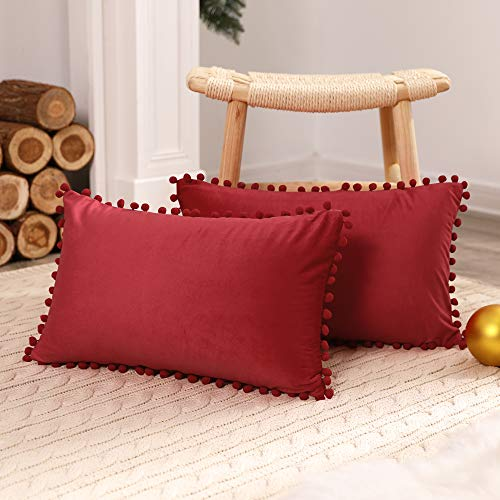 Deconovo 2 Pack Pom Pom Crushed Velvet Cushion Covers 12x20 Inches Throw Pillowcases Cushion Protectors for Christmas Sofa Bed Chairs with Invisible Zipper Bright Red 30cm x 50cm