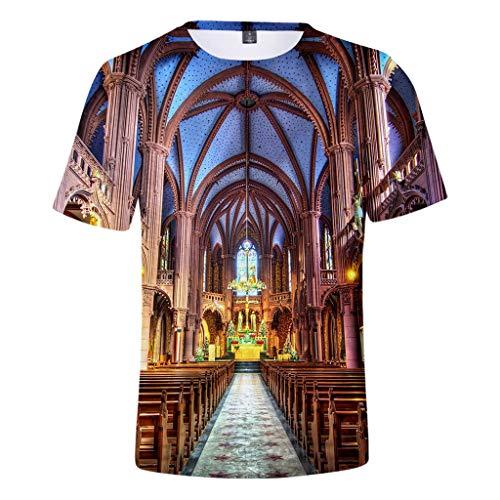 Fantastic Deal! XQXCL Notre Dame de Paris Cool Tshirts for Men Summer Fashion Plus Size Gray