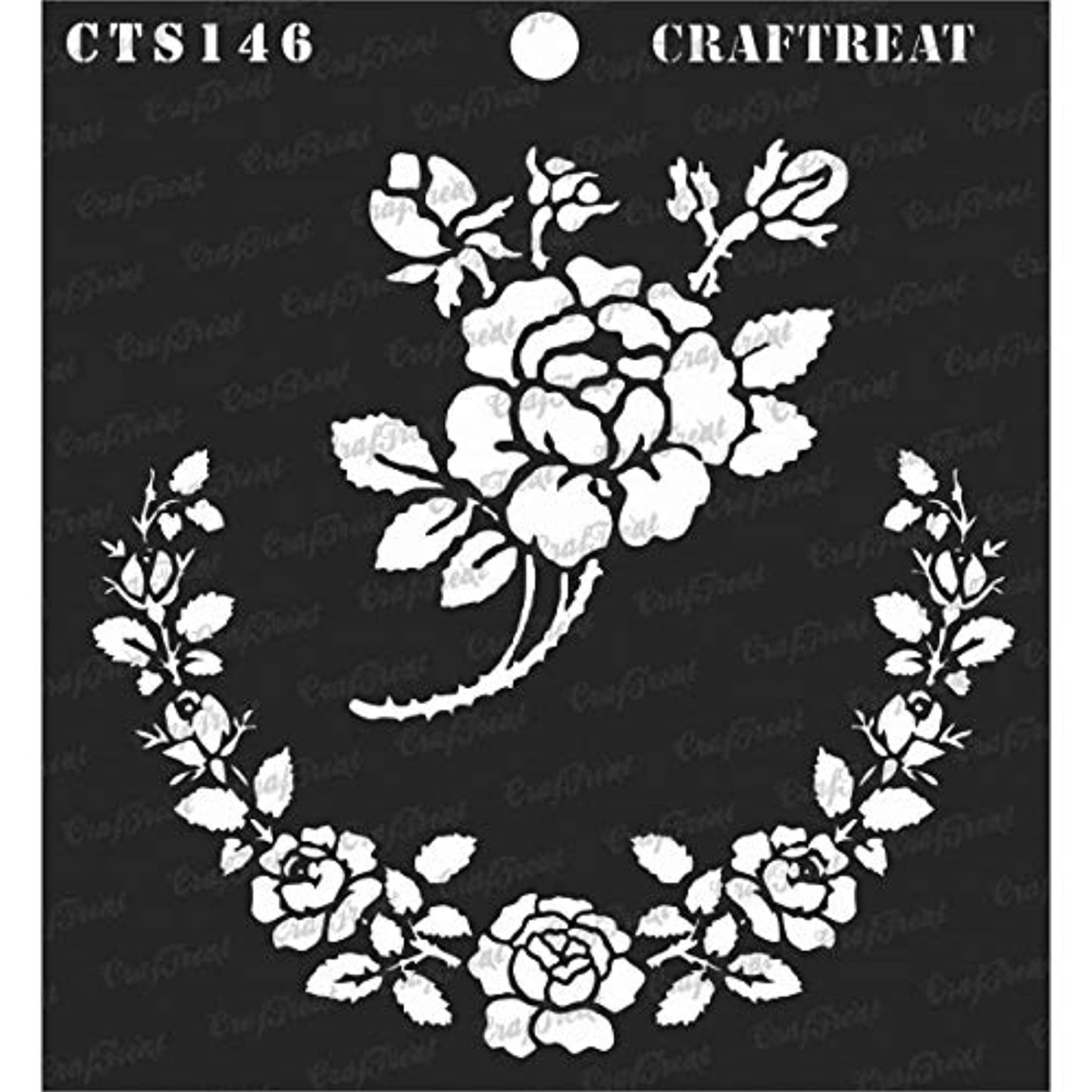 CrafTreat Stencil - Rose Parade | Reusable Painting Template for Journal, Notebook, Home Decor, Crafting, DIY Albums, Scrapbook and Printing on Paper, Floor, Wall, Tile, Fabric, Wood 6