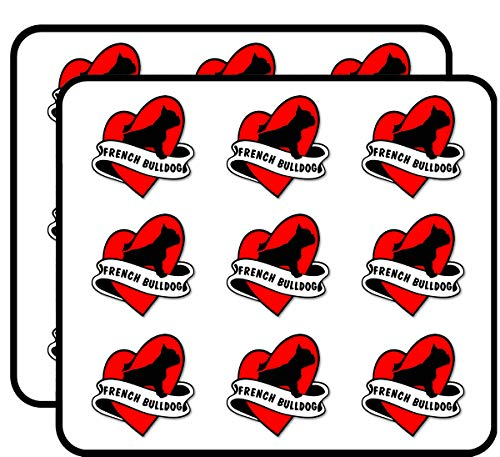 Heart & Banner Shaped French Bulldog - Dog Frenchie Funny Love Sticker for Scrapbooking, Calendars, Arts, Album, Bullet Journals 2' 18 Pack