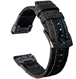 Olytop Fenix 6X Pro Band & Fenix 5X/5X Plus Bands, 26mm Quick Fit Premium Durable Nylon with Leather Watch Strap Wrist Band for Garmin Fenix 5X/5X Plus/Fenix 3/Quatix 3/Tactix Bravo Smartwatch - Black