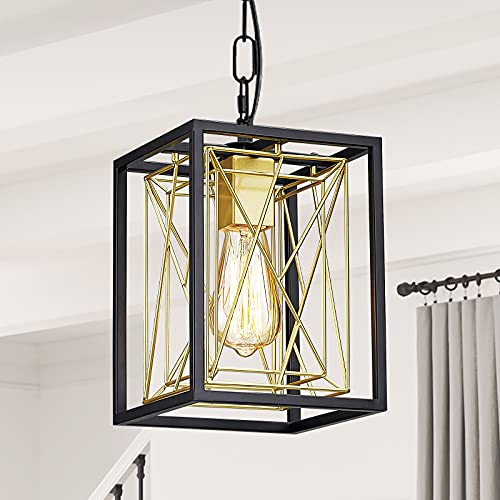Zhu Yan Lantern Pendant Light,1-Light Metal Hanging Light Fixtures with Matte Black and Gold Finish Pendant Lighting,Adjustable Chain Cage Pendant Light for Kitchen Dining Room Entryway