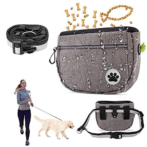 Leckerlibeutel für Hunde, Premium Futterbeutel, Esportic Futterbeutel für Hunde, Futtertasche für Hundetraining, Hundeleckerli-Tasche wasserdicht, Leckerli-Beutel für Hunde mit verstellbarem (Grau)