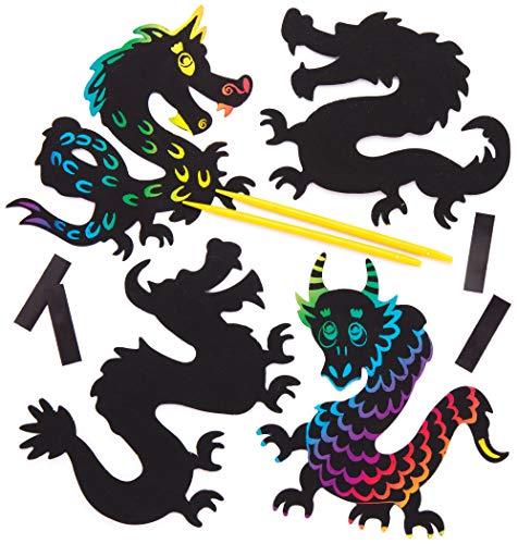 """Baker Ross Kratzbild-Magneten """"Drachen"""" (10 Stück) – Bastelidee für Kinder zum Verzieren und Gestalten"""