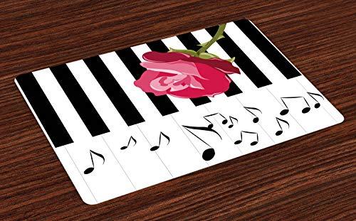 ABAKUHAUS Modern Placemat Set van 4, Red Rose op de Piano, Wasbare Stoffen Placemat voor Eettafel, Roze Zwart Wit