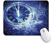 マウスパッド 個性的 おしゃれ 柔軟 かわいい ゴム製裏面 ゲーミングマウスパッド PC ノートパソコン オフィス用 デスクマット 滑り止め 耐久性が良い おもしろいパターン (新年へのカウントダウン時計の休日と雪片)