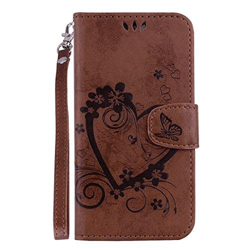 Lomogo Galaxy S9 Hülle Leder, Schutzhülle Brieftasche mit Kartenfach Klappbar Magnetisch Stoßfest Handyhülle Case für Samsung Galaxy S9/G960F - LORXZ020376 Braun