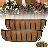2 Pcs Flat Iron Series Planter Boxes, 24-Inch English Horse Trough Coco Planter, Metal Long Rectangular Shape Wall Mount Planter Coco, Extra Coco Liner Trough Kit for Outdoor or Indoor Use, Black