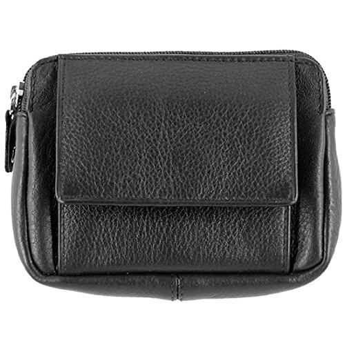 Sattler & Co. Schlüsselmäppchen Echt Leder - Schlüsseltasche für Damen und Herren - Schlüsselbeutel Portemonnaie mit Reißverschluss in Schwarz