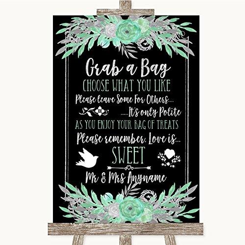 Bruiloft Teken Poster Print Zwarte Munt Groen & Zilver Pak Een Tas Snoep Buffet Winkelwagen Snoepjes Kan Volledig Aangepast Elke Wording Of Kleur - Perfect Venue Decoratie (A3) Large