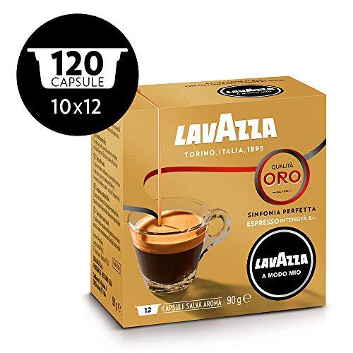 Lavazza Capsule Caffè A Modo Mio Qualità Oro, 10 Confezioni da 12 Capsule [120 Capsule], Intensità 8