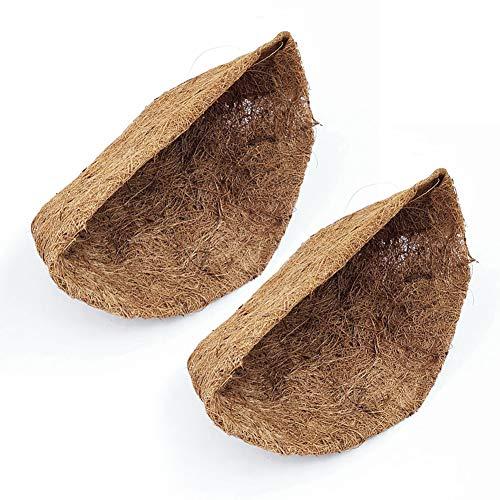 strimusimak Macetas colgantes para macetas | cesta para colgar | 2 unidades medio redondo de fibra de coco maceta para colgar plantas cesta Linerhome Decor S