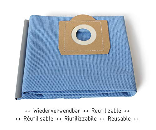 MI:KA:FI Filterbeutel wiederverwendbar | für 20L Nass-Trockensauger + Industriesauger | Einhell + Tacklife + Parkside + Bosch + Thomas + Caramba + AUTLEAD + Nilfisk | wie Einhell Schmutzfangsack 20L