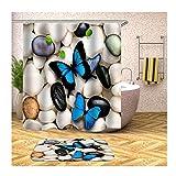 Anwaz Duschvorhang & Badezimmerteppich Set Waschbar aus Polyester Schmetterling Muster Design Bad Vorhang Badezimmer Teppich Bunt mit 12 Duschvorhangringen für Badezimmer - 150x180CM/ 40x60CM