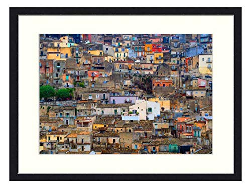 Wall Art Canvas Prints Wood Framed Paintings Artworks Pictures(20x14 inch) - Sicily Italy Texture City Sicilian Building Old
