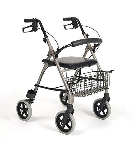 Rollator van aluminium met vier wielen, zitting, achterwand, remmen en bagagedrager voor stangen.