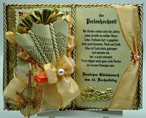 Perlenhochzeit, 30-jähriges Ehejubiläum - Dekobuch (beige/lachsfarben) mit Holzbuchständer, Schmuckbücher für alle Anlässe