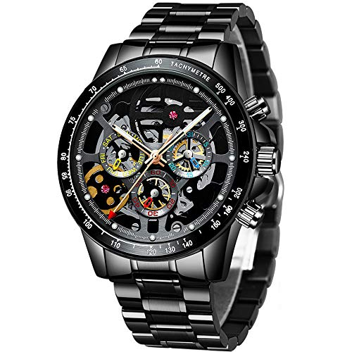 Orologio da uomo meccanico in acciaio inox con scheletro Steampunk Design automatico a carica automatica, doppio secondi, orologio vuoto, settimana, data, regalo
