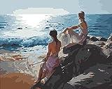 Fuumuui Pintar por Numeros para Adultos Niños,DIY Pintura por números de Kits Sin Marco-Las Hermanas Miran el mar 16 * 20 Pulgadas
