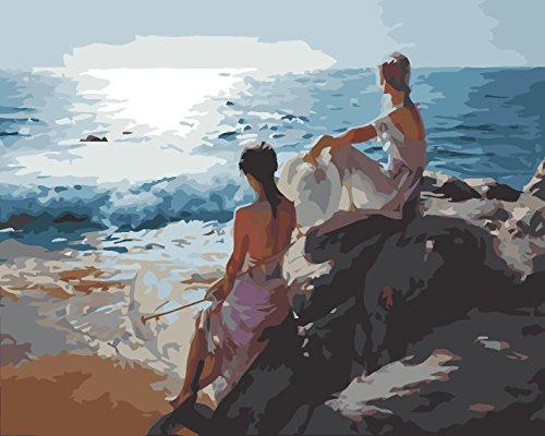 Fuumuui Lienzo de Bricolaje Regalo de Pintura al óleo para Adultos niños Pintura por número Kits Decoraciones para el hogar-Las Hermanas Miran el mar 16 * 20 Pulgadas
