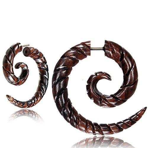 Fake Spirale Lobe Piercing Edelstahl Ohrstecker Dehnschnecke Holz Ohrring Dehner | Dehnspirale Unisex Frauen Männer | 6mm 8mm Chirurgenstahl Steckverschluss Schraubverschluss Ohr Tribal Spiralen
