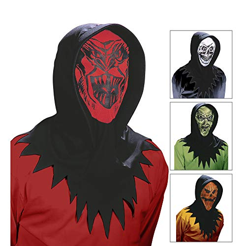 Widmann Horror Face Hood 4Styles Party Masks Eyemasks and Disguises for Masquerade Fancy Dress Costume Accessory