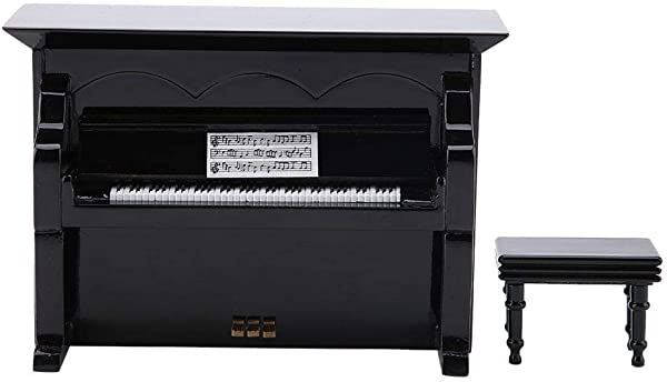 Cosiki Piano Music Box Grand Piano Shaped Music Box Windup Wooden Piano Music Box Instrument Ornaments Birthday Gifts Black