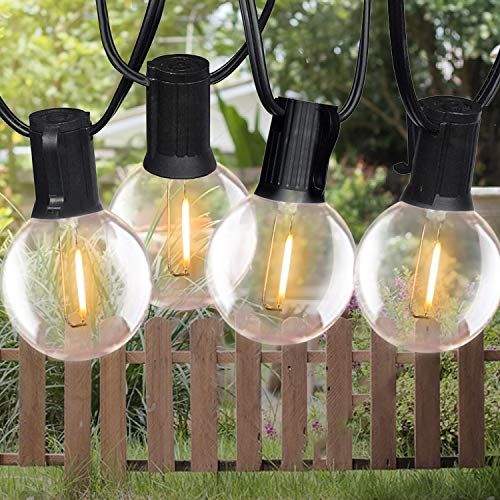 LED Solar Lichterkette Außen, Bomcosy G40 Lichterkette Glühbirne Retro 18FT/5.4M IP65 Wasserdicht,10+2 0.2W LED Birnen E12 Warmweiß 2700K Beleuchtung für Innen und Außen Deko Garten Hochzeit