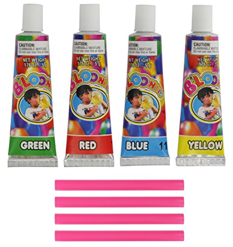 Ram-Pro Blow up Bubble Balloons - 4 Straws & 4 Tubes of Gooey Plastic Colors (4 Pack)