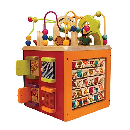 B Toys – Zany Zoo Wooden Activity Cube – Toddler Activity Center for Kids 1...