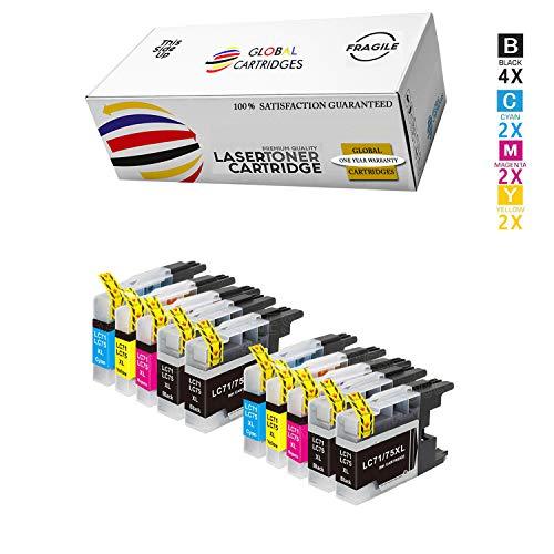 Global Cartridges Compatible Ink Cartridges Set Replacement for Brother LC-75/LC75/LC-71/LC71 XL High Yield / LC75BK LC75C LC75Y LC75M (10-Pack /4 X Black, 2 X Cyan, 2 X Yellow, 2 X Magenta)