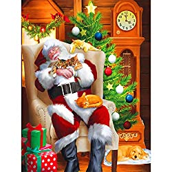 Diymood Painting Acrylic Paint by Number Kits for Students Beginner, DIY Santa, Gift, Clock Oil Painting Drawing Wall Home Decor 40x50cm