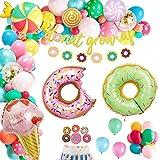Dsaren 86 Pcs Decoraciones Fiesta Candyland Donut Grow Up Banner Globo Aluminio Helado Caramelo Topper de Tarta Globos Látex Confeti para Niñas Niños Cumpleaño Baby Shower Suministros Fiesta Piruletas
