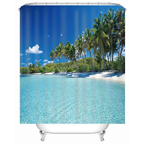Duschvorhang Wasserdicht, Chickwin 3D Strand Polyester Anti-Schimmel Waschbar Antischimmel Badewanne Shower Curtain mit12Ringes- fürBadezimmerGardinen Decor (Blauer Himmel,200x200cm)