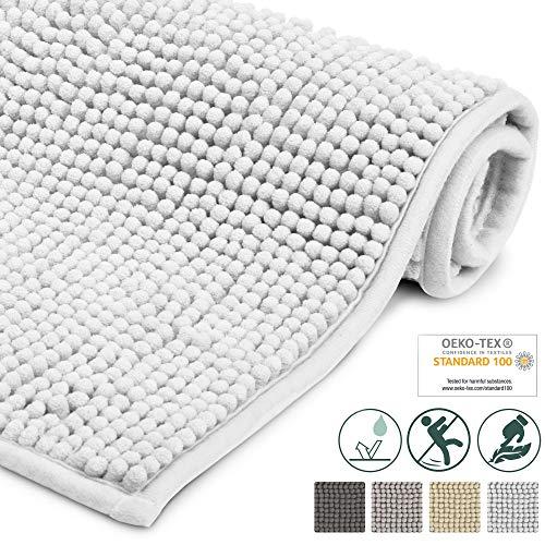 Beautissu Badematte rutschfest BeauMare WR Badezimmerteppich 80x50 cm Weiß - WC Badteppich Flauschige Bodenmatte oder Badvorleger für Dusche, Badewanne und Toilette - für Fußbodenheizung geeignet