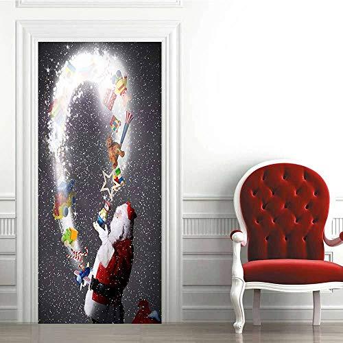 Pegatinas de Puerta 3D-Regalo de Santa-Murales Autoadhesivos Decoración del Hogar Pegatinas de Pared PVC Pegatinas de Arte Dormitorio Sala de Estar Póster Extraíble 88x200cm