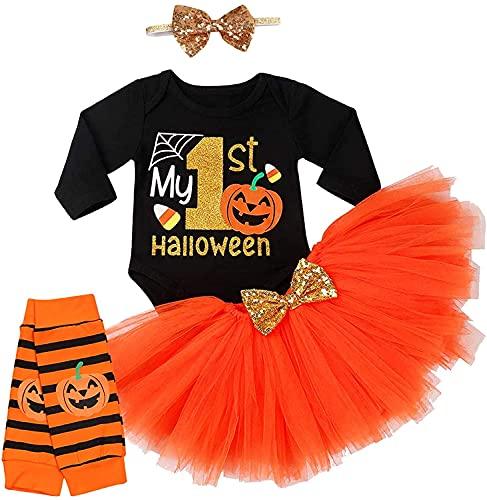 Disfraz de Halloween para niñas de bebé, mi primer mameluco de Halloween+falda tutú+calentador de pierna estriada+diadema de lazo 4 piezas, Negro, 12-18 Meses