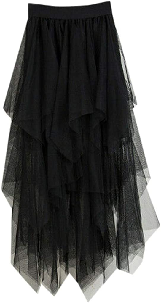 Landscap Womens Bohemian Elastic Waist Cotton Skirt,Tulle High Pleated Tutu Flowing Midi Big Hem Skirts