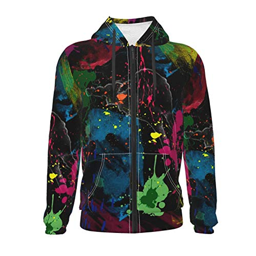 Hip Hop Zipper Hooded Sweatshirts for Boys Girls Teens Junior, Psychedelic Colorful Graffiti Hoodie with Front Pocket Fitted Outwear Tunic Tops for Picnic, Running, Yoga