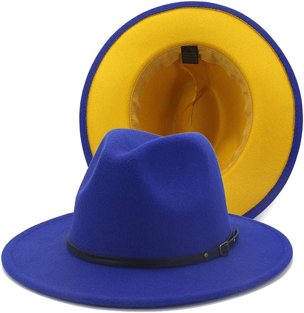 Gossifan Womens Wide Brim Panama Hat Patchwork Colors Classic Buckle Fedora