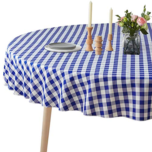 VEEYOO Spillproof Checkered Tablecloth Polyester Stain Resistant Wrinkle Free and Waterproof Table Cloth for Outdoor Picnic,Party, Home Dinner (Round Tablecloth, White & Blue, 70 inch Dia)