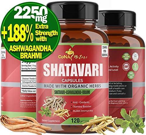 Organic Shatavari Capsules 2250mg Ashwagandha Bacopa Balance Women Hormone Supplements Breastfeeding product image