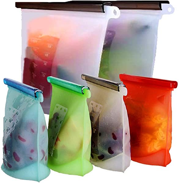Reusable Silicone Food Storage Bags WOHOME Airtight Seal Food Preservation Bags Food Grade Versatile Preservation Bag Container For Vegetable Liquid Snack Meat Lunch Fruit 2xLarge 50oz 4xSmall 30oz