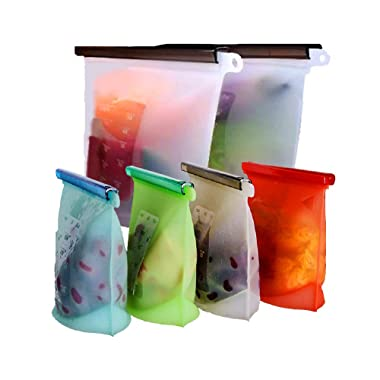 Reusable Silicone Food Storage Bags,WOHOME Airtight Seal Food Preservation Bags/Food Grade/Versatile Preservation Bag Container for Vegetable,Liquid,Snack,Meat,Lunch,Fruit,/2xLarge 50oz+4xSmall 30oz